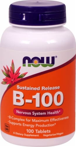 NOW Foods B-100 Sustained Release Tablets Perspective: front