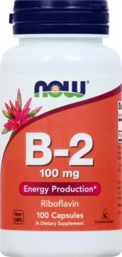 NOW Foods B-2 100 mg Capsules Perspective: front