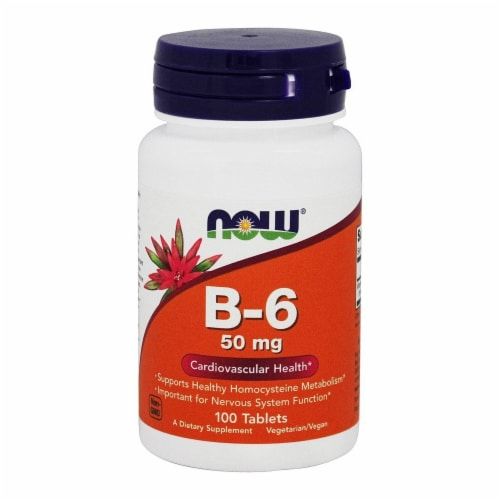 NOW Foods B-6 50mg Tablets Perspective: front