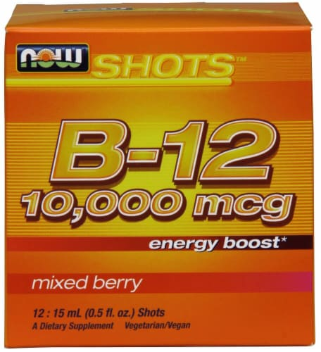 NOW Foods B-12 Mixed Berry Flavor Shots 10000mcg Perspective: front