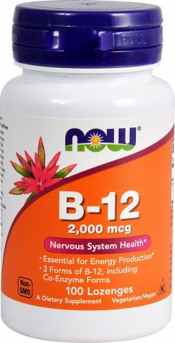 NOW Foods B-12 Lozenges 2000mcg Perspective: front
