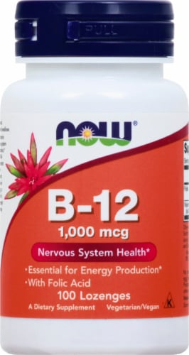 NOW Foods B-12 Lozenges 1000mcg Perspective: front