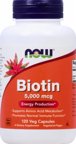Now Biotin Energy Production Vegetable Capsules 5000mcg Perspective: front