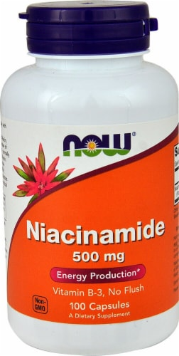NOW Foods Niacinamide Dietary Supplement Capsules 500mg Perspective: front