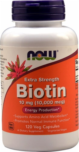 NOW Biotin Extra Strength Vegetarian Capsules 10 mg Perspective: front