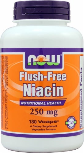 NOW Foods Flush-Free Niacin Dietary Supplement Vegetarian Capsules 250mg Perspective: front