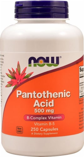 NOW Foods Pantothenic Acid Capsules 500mg Perspective: front