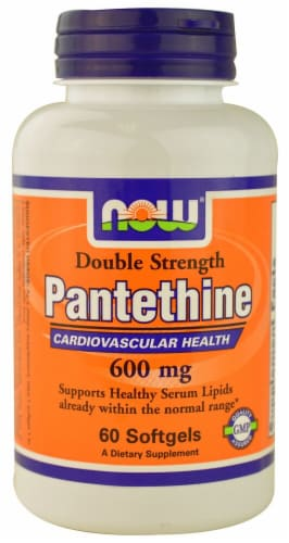 NOW Foods Double Strength Pantethine Dietary Supplement Softgels 600mg Perspective: front