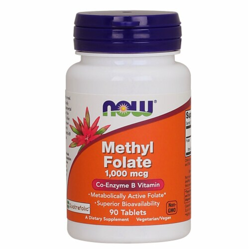 Now Methyl Folate Co-Enzyme B Vitamin Dietary Supplement Tablets 1000mcg Perspective: front