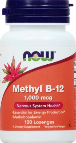 NOW Foods Methyl B-12 Lozenges 1000mcg Perspective: front