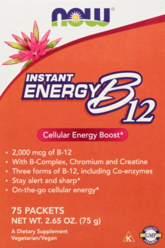 NOW Foods Instant Energy B-12 Packets 2000mcg Perspective: front