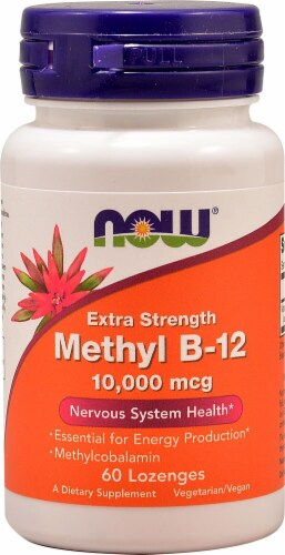 NOW Foods Extra Strength Methyl B-12 Lozenges 10000mcg Perspective: front