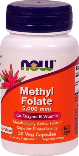 NOW Foods Methyl Folate Veg Capsules 5000mcg Perspective: front