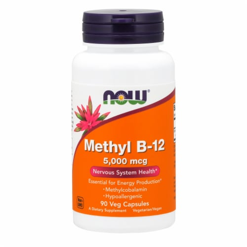 NOW Foods Methyl B-12 Nervous System Health Dietary Supplement Veg Capsules 5000mcg Perspective: front