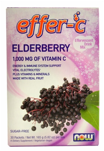 NOW Foods Effer-C Elderberry Effervescent Drink Mix 1000mg Perspective: front