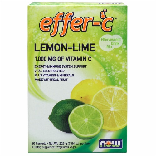 NOW Foods Effer-C Lemon-Lime Vitamin C Drink Mix Perspective: front