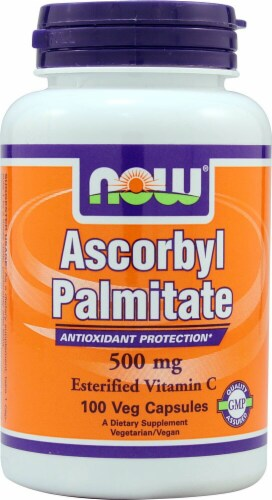 NOW Foods Ascorbyl Palmitate Dietary Supplement Veg Capsules 500mg Perspective: front