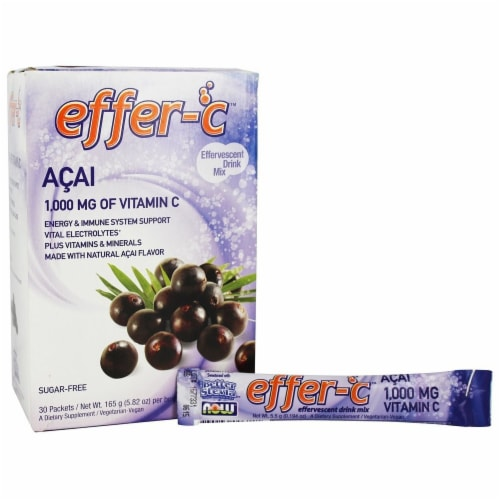 NOW Foods Effer-C Acai Effervescent Drink Mix Packets 30 Count Perspective: front