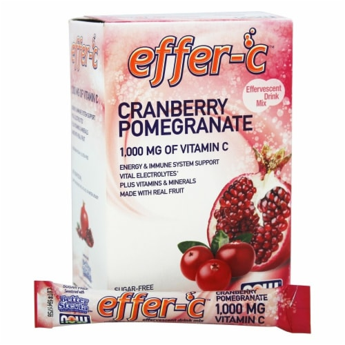 NOW Foods Effer-C Cranberry Pomegranate Effervescent Drink Mix 1000mg Perspective: front