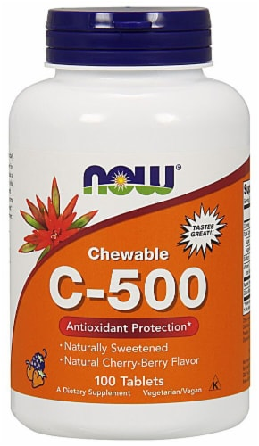 NOW Foods Chewable C-500 Natural Cherry-Berry Tablets Perspective: front