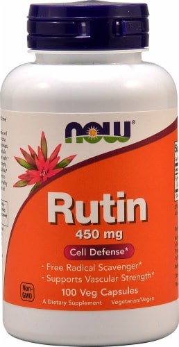 NOW Foods Rutin Dietary Supplement Veg Capsules 450mg Perspective: front