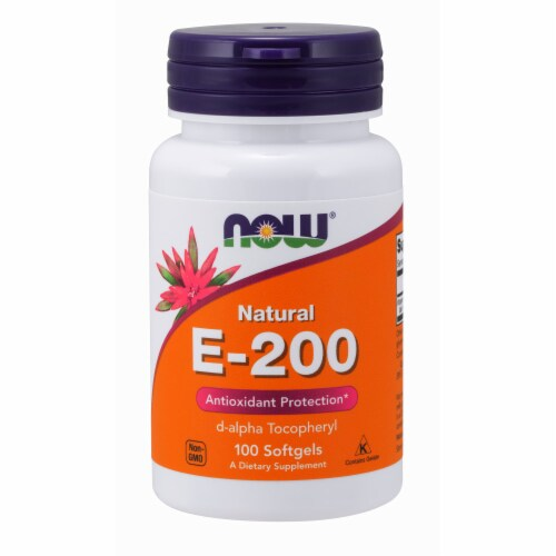 NOW Foods Natural E-200 Antioxidant Protection Dietary Supplement Softgels Perspective: front