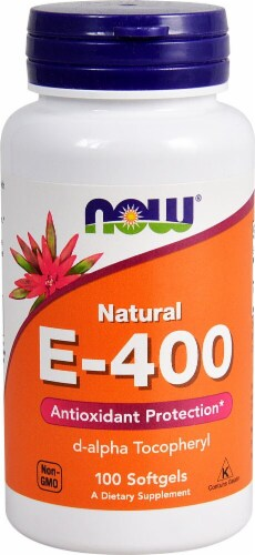 NOW Foods E-400 D-alpha Tocopheryl Dietary Supplement Softgels Perspective: front