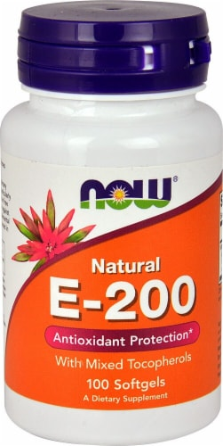 NOW Foods Natural E-200 Softgels Perspective: front