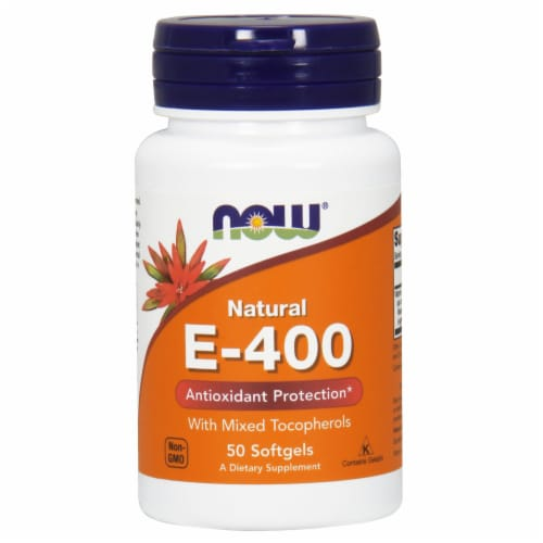 NOW Foods Natural E-400 Antioxidant Protection Dietary Supplement Softgels Perspective: front