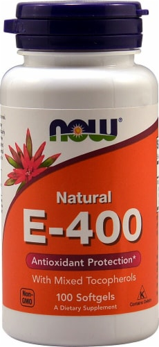 NOW Foods Natural E-400 Softgels Perspective: front