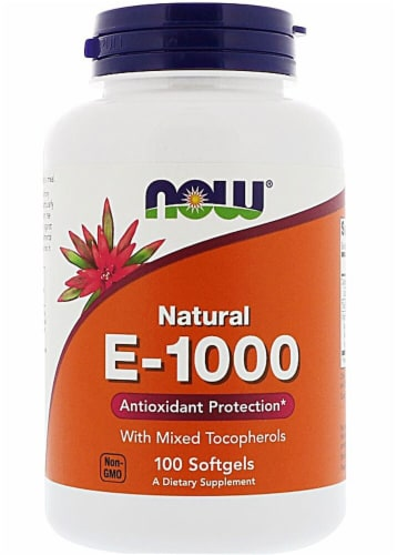 NOW Foods Natural E-1000 Dietary Supplement Softgels Perspective: front
