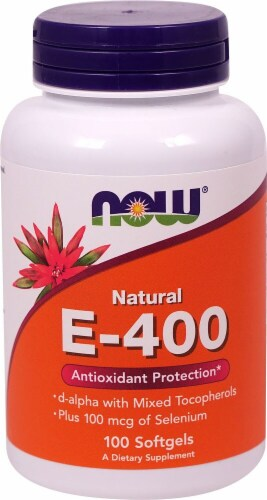 NOW Foods Natural E-400 Dietary Supplement Softgels Perspective: front