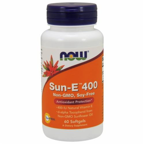 NOW Foods Sun-E 400 Antioxidant Protection Dietary Supplement Softgels Perspective: front