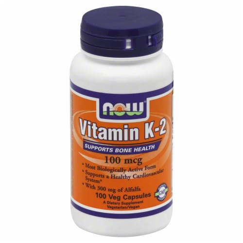 Now Vitamin K-2 Veg Capsules 100mcg Perspective: front