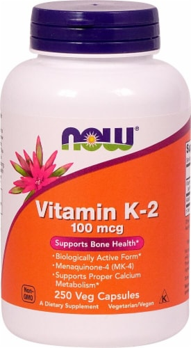 NOW Foods Vitamin K-2 Veg Capsules 100mcg Perspective: front