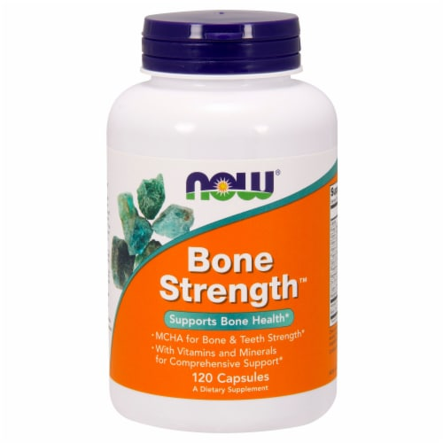 NOW Foods Bone Strength Dietary Supplement Capsules Perspective: front