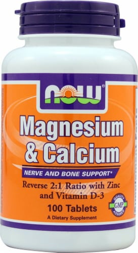 NOW Foods Magnesium & Calcium Tablets Perspective: front