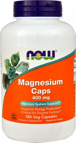 NOW Foods Magnesium Caps Veg Capsules 400mg Perspective: front