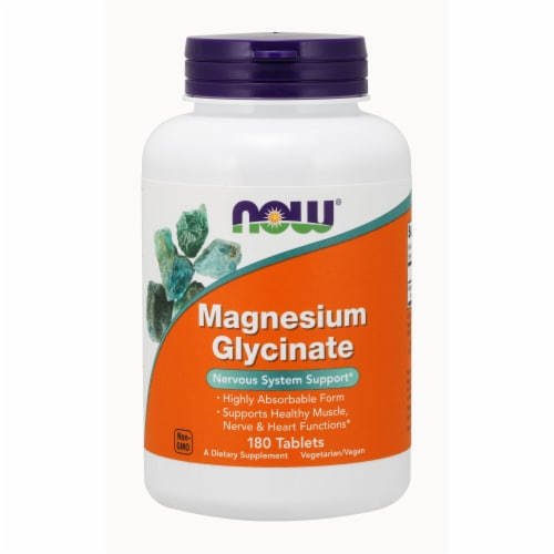 NOW Foods Magnesium Glycinate Nervous System Support Health Dietary Supplement Tablets Perspective: front