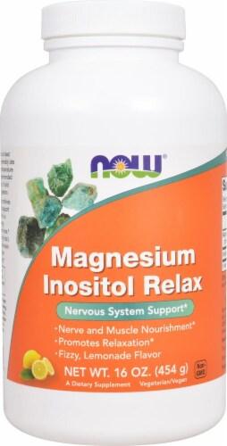 NOW Foods  Magnesium Inositol Relax Powder   Lemonade Perspective: front