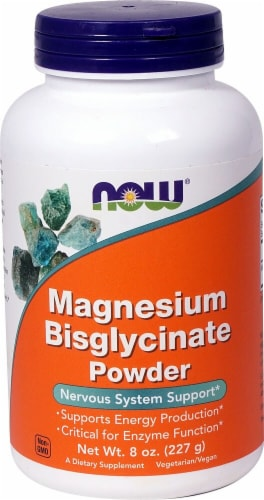 NOW Foods  Magnesium Bisglycinate Powder Perspective: front