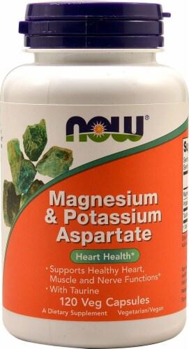 NOW Magnesium & Potassium Aspartate Veg Capsules Perspective: front