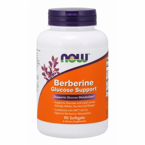 NOW Foods Berberine Glucose Metabolism Support Health Dietary Supplement Softgels Perspective: front