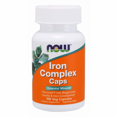 Now Foods Iron Complex Caps (Glycinate) Veg Capsules Perspective: front