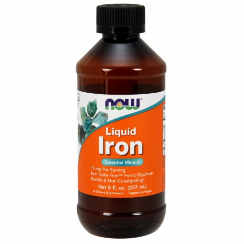 NOW Foods Liquid Iron Essential Mineral Dietary Supplement Perspective: front