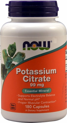 NOW Potassium Citrate Capsules 99mg Perspective: front