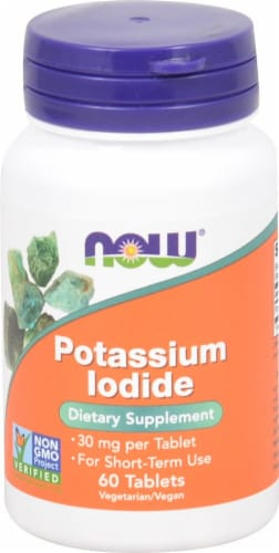 NOW Foods Potassium Iodide Tablets 30mg Perspective: front