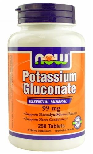 NOW Potassium Gluconate Tablets 99mg Perspective: front