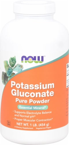 NOW Foods Potassium Gluconate Pure Powder Perspective: front