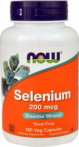 NOW Foods Selenium 200mcg Veg Capsules Perspective: front
